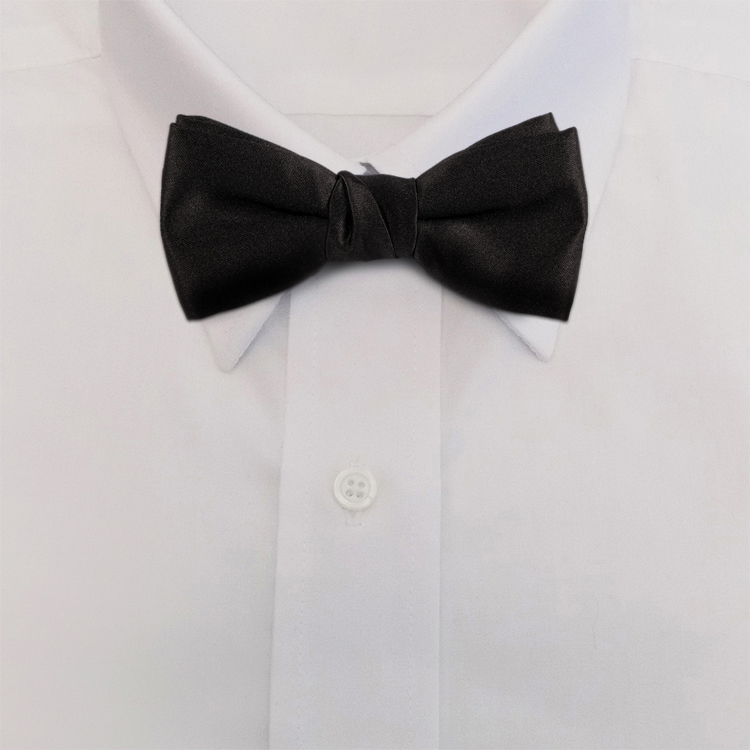 Black Polyester Satin<br>Clip-On Bow Tie-SB