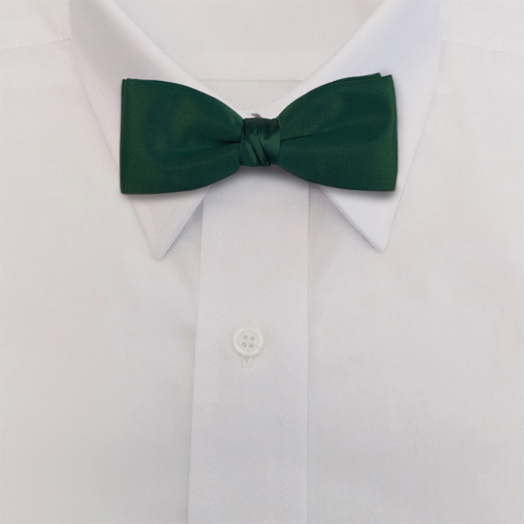 Green Polyester Satin<br>Banded Bow Tie-SB
