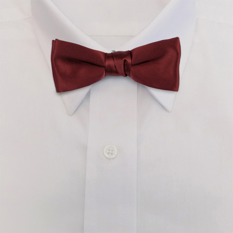 Maroon Polyester Satin<br>Banded Bow Tie-SB