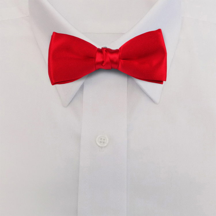 Red Polyester Satin<br>Clip-On Bow Tie-SB