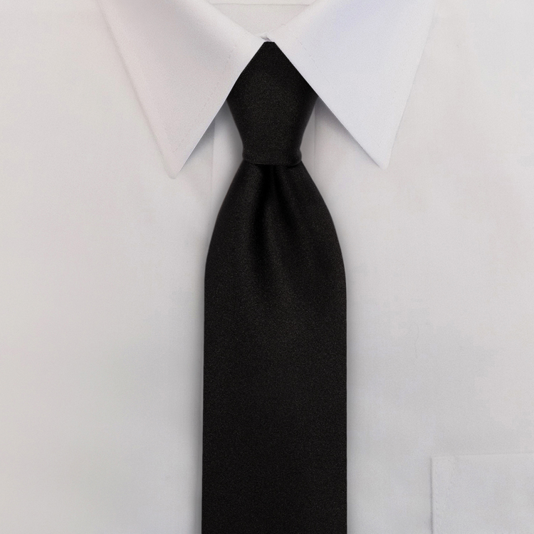 Black Polyester Satin Clip-On Necktie-SB