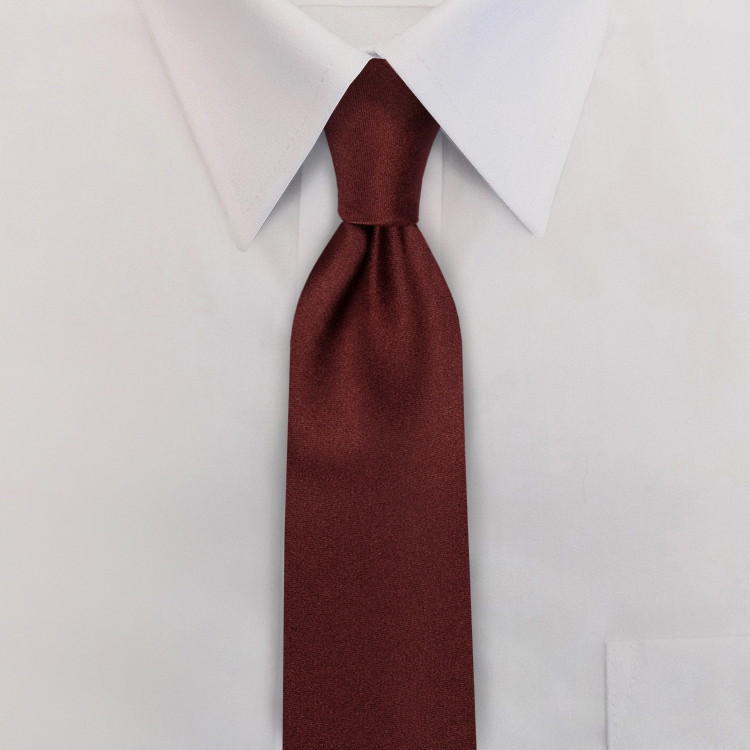 Maroon Polyester Clip-On Necktie-SB