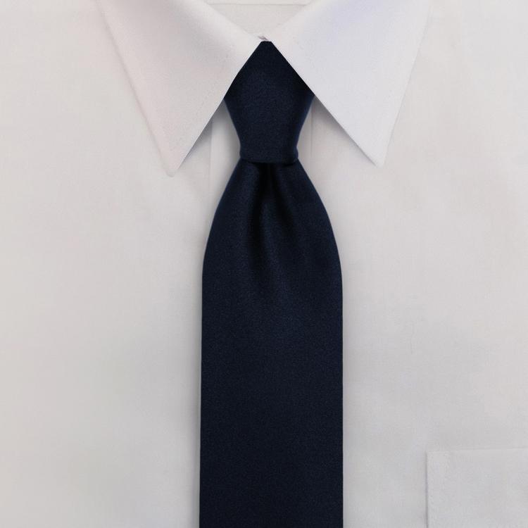 Navy Polyester Satin Clip-On Necktie-SB