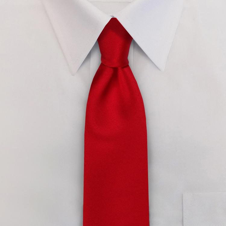 Red Polyester Satin Clip-On Necktie-SB