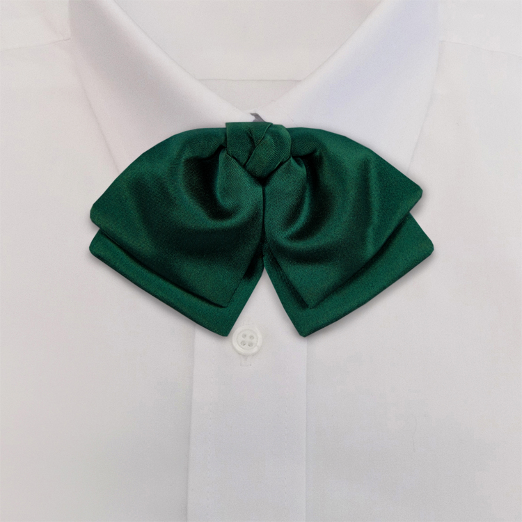 Green Polyester Satin<br>Banded Manager Bow-SB