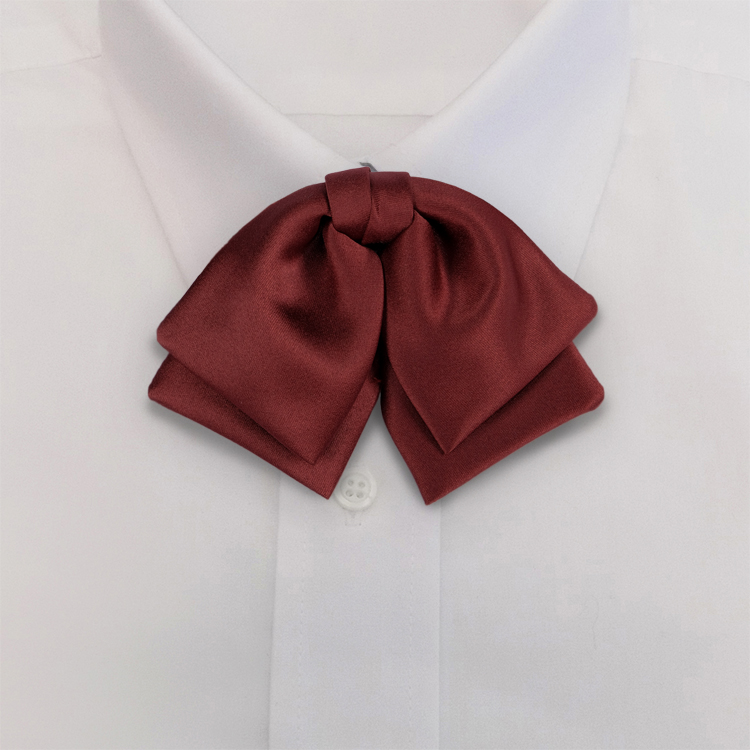 Maroon Polyester Satin<br>Banded Manager Bow-SB