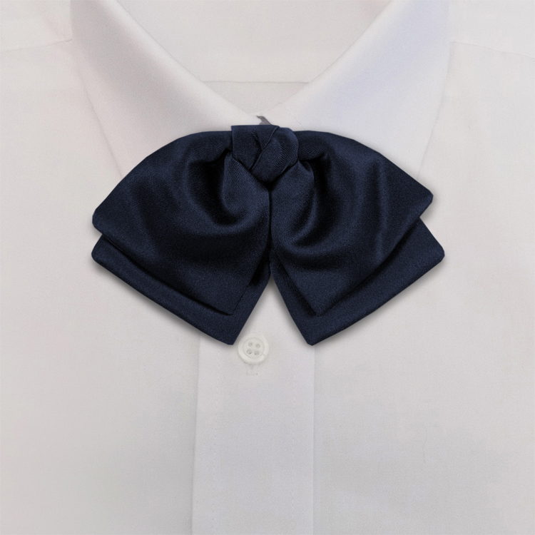 Navy Polyester Satin<br>Banded Manager Bow-SB