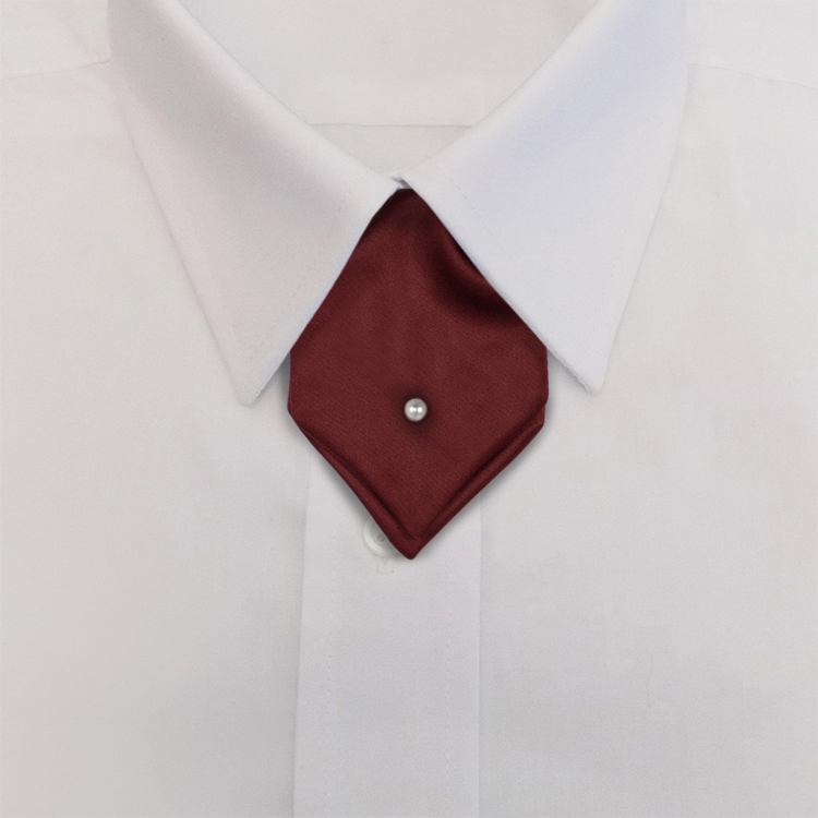 Red Polyester Satin<br>Banded Mini Ascot-SB