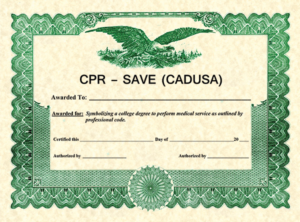 SAFE WITH CADUSA CERTIFICATE-
