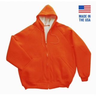 Thermal-Lined, Hooded Sweat Jacket with Zipper Front - Domestic-