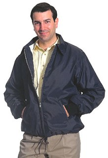 Flannel-Lined Windbreaker with Zipper Front & Knit Cuffs - Domestic-