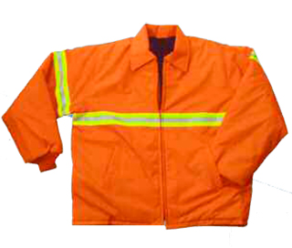 Polyester Oxford, Fluorescent Orange Jacket with Tape - Domestic-