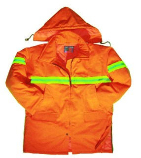 Orange Safety Parka with Reflective Tape - Imported