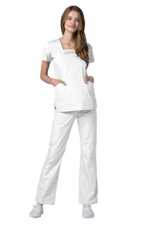 Adar Universal Pin Tuck Pleated Scrub Top-