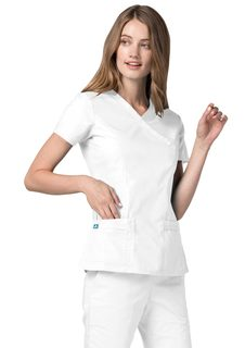 Adar Universal Double Stiched Mock Wrap Scrub Top-