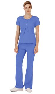 Adar Indulgenc Jr. Fit coop Neck Pleated Top-Adar Medical Uniforms