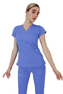 4210 Adar Indulgence Jr. Fit Stitched Curved V-Top-Adar Medical Uniforms