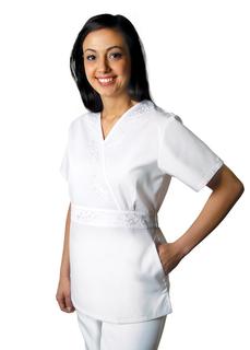 Adar Universal Embroidered Crossover Midriff Tunic-Adar Medical Uniforms