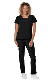 Adar Addition Womens Curved Mock Wrap Top-Adar Medical Uniforms