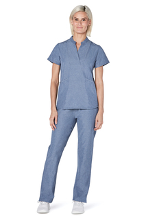 Adar Pro Womens Polished Melange Crossover Bib Front Top-Adar Medical Uniforms