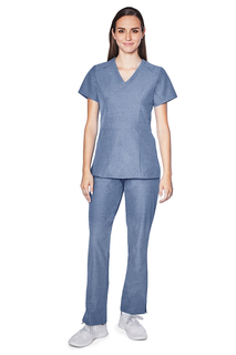 Adar Pro Womens Polished Melange Tailored Peplum Top-Adar Medical Uniforms