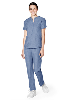 Adar Pro Womens Polished Melange Tailored Notch Neck Top-Adar Medical Uniforms