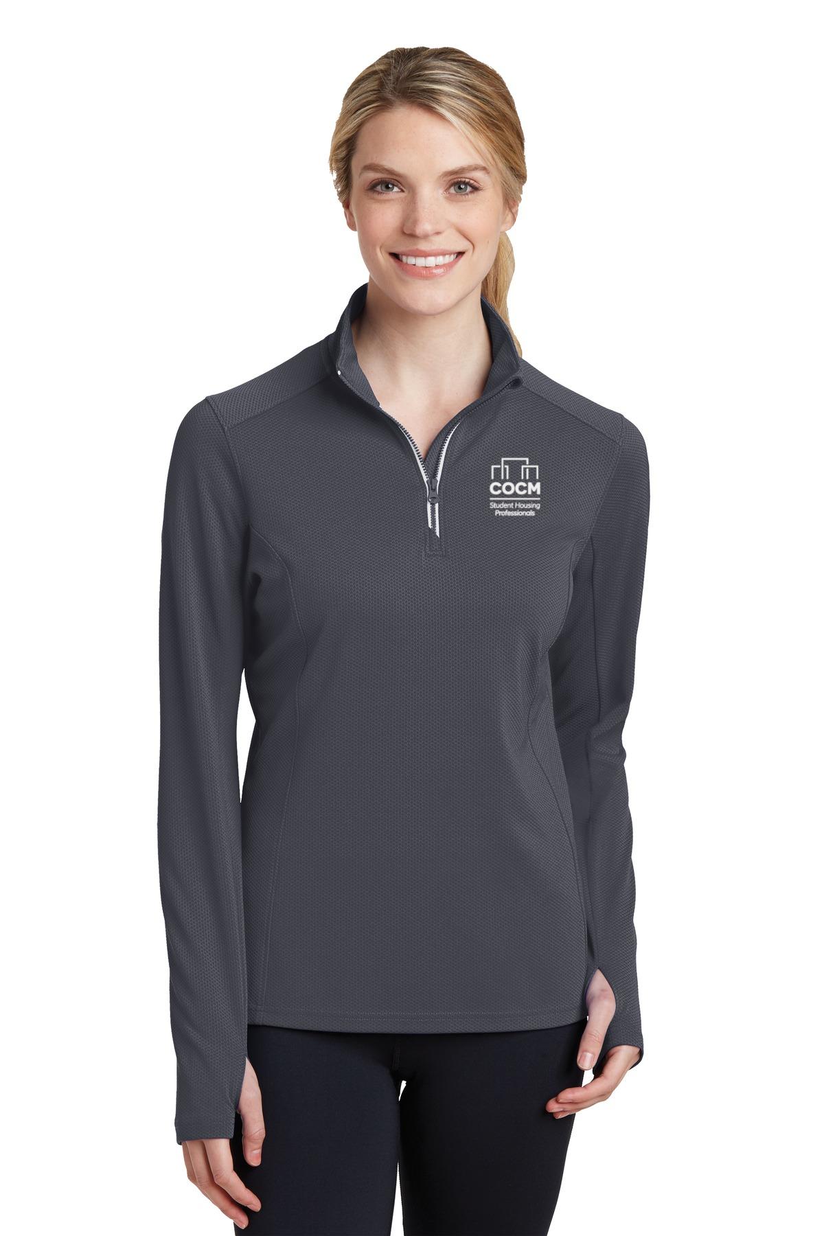 Sport-Tek® Ladies Sport-Wick® Textured 1/4-Zip Pullover (with Logo)-
