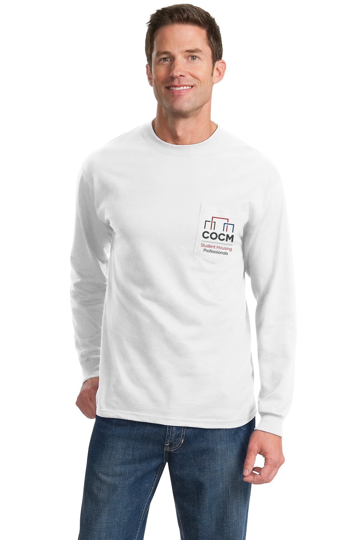 Port & Company® - Long Sleeve Essential Pocket Tee (with Full Color Logo + Back)-