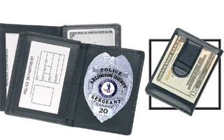 Side Open Badge Case with Credit Card Slots and Money Clip - Dress-Strong Leather