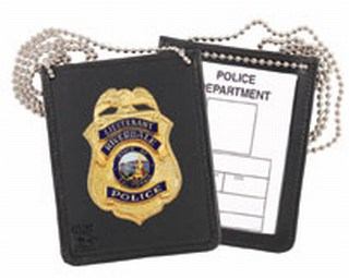 Neck - Dress Recessed Badge & ID Holder-Strong Leather