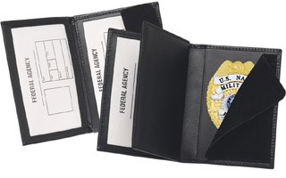 Side Open Double ID Badge Case - Dress-Strong Leather