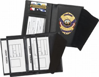 Double ID Badge Case with Credit Card Slots and License Window - Dress-Strong Leather