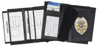 Double ID Flip-out Badge Case with Slide Thru Window - Dress-Strong Leather