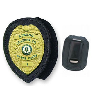 Recessed Badge Holder Clip-on-Strong Leather