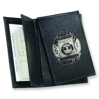Side Open Double ID FLip-out Recessed Badge Case - Dress-Strong Leather