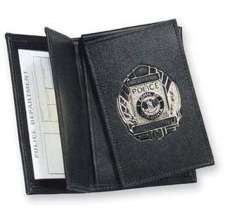 Side Open Flip-out Badge Case with Smart Card Window - Dress-Strong Leather