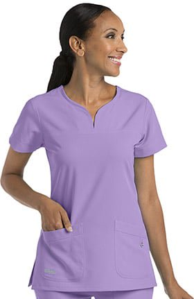 EHS C4 Neck Notch Premium Stretch Scrub Top-EHS