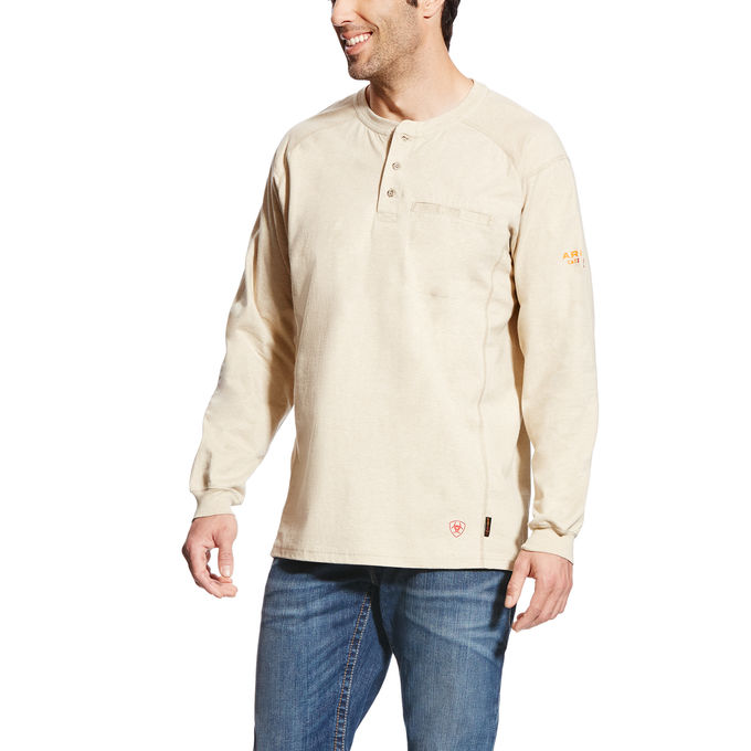Ariat FR Air Henley T-shirt Sand Heather-arifr
