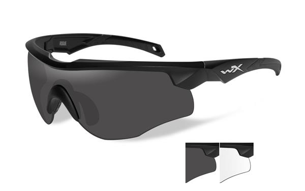 Wiley X Rogue Glasses - Smoke Grey and Clear Lenses with Matte Black Frame -Wiley X
