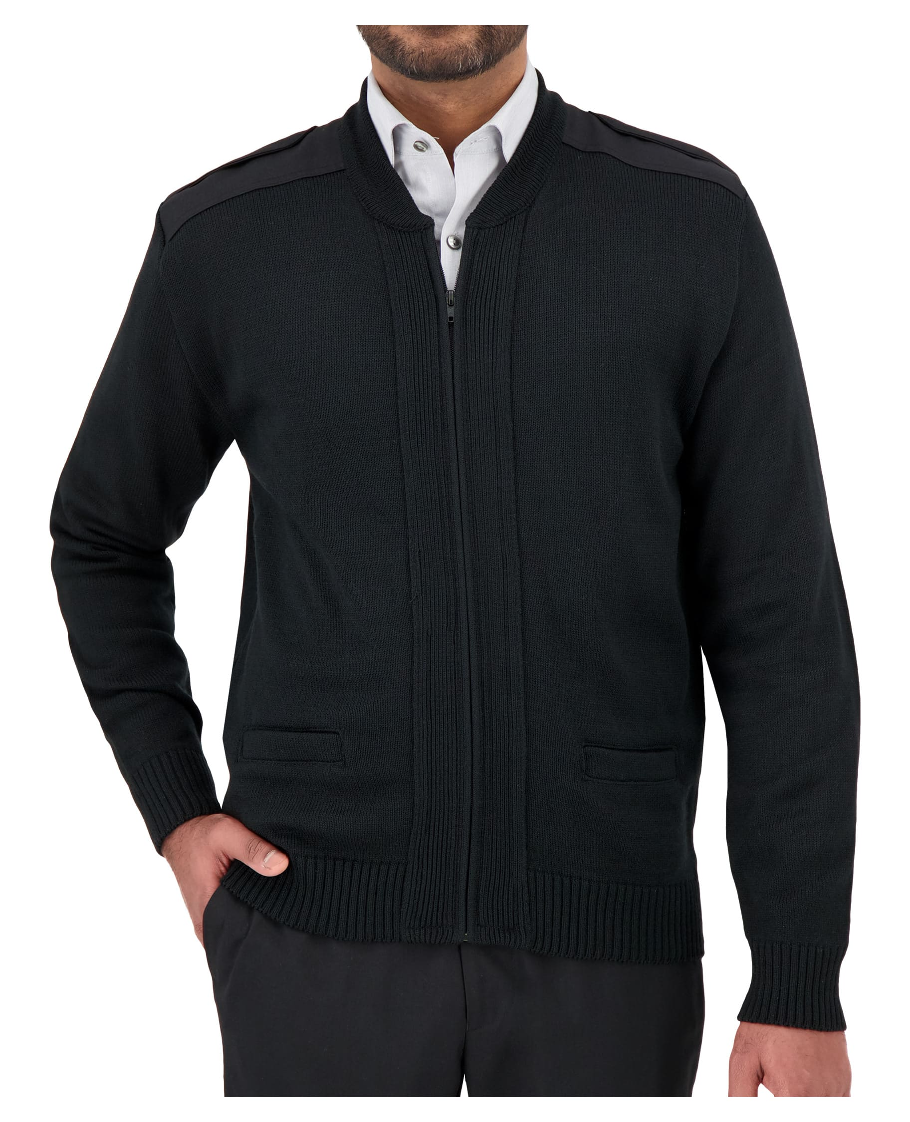 "Unisex Crew Neck Zip Front ""Commando"" with Pockets, Velcro Epaulets, Shoulder and Elbow Patches-Cobmex"