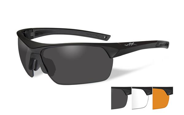 Wiley X Guard Advanced Glasses - Smoke Grey, Clear, and Light Rust Lenses with Matte Black Frame -Wiley X