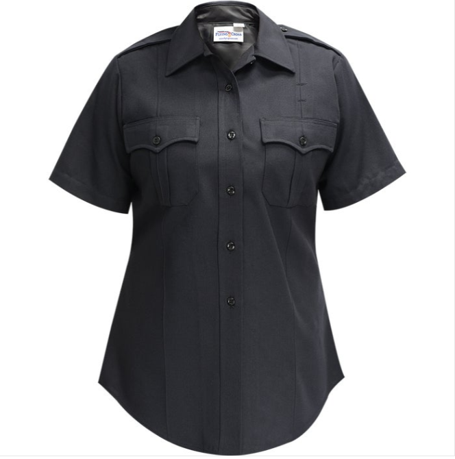 DELUXE TACTICAL POLY/RAYON/LYCRA WOMENS SS SHIRT LAPD NAVY-Fechheimer Brothers