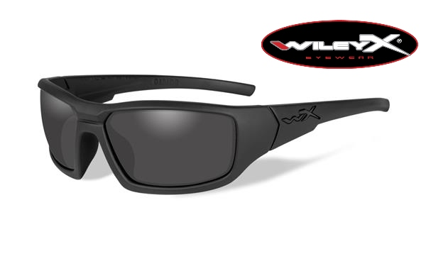 Wiley X Censor Black Ops Polarized Glasses - Smoke Grey Lens with Matte Black Frame -Wiley X