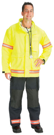 "Advance (tm) EMS Jacket lined with Stedair EMS Moisture Barrier(2"" Red/Orange-Silver Triple Trim)-Topps Safety Apparel"