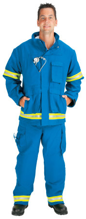 "Advance (tm) EMS Jacket lined with Stedair EMS Moisture Barrier(2"" Lime/Yellow-Silver Triple Trim)-Topps Safety Apparel"