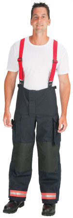 Polyester/Cotton Standard EMS Pant lined with Stedair EMS Moisture Barrier (Red/Orange-Silver Triple Trim)-