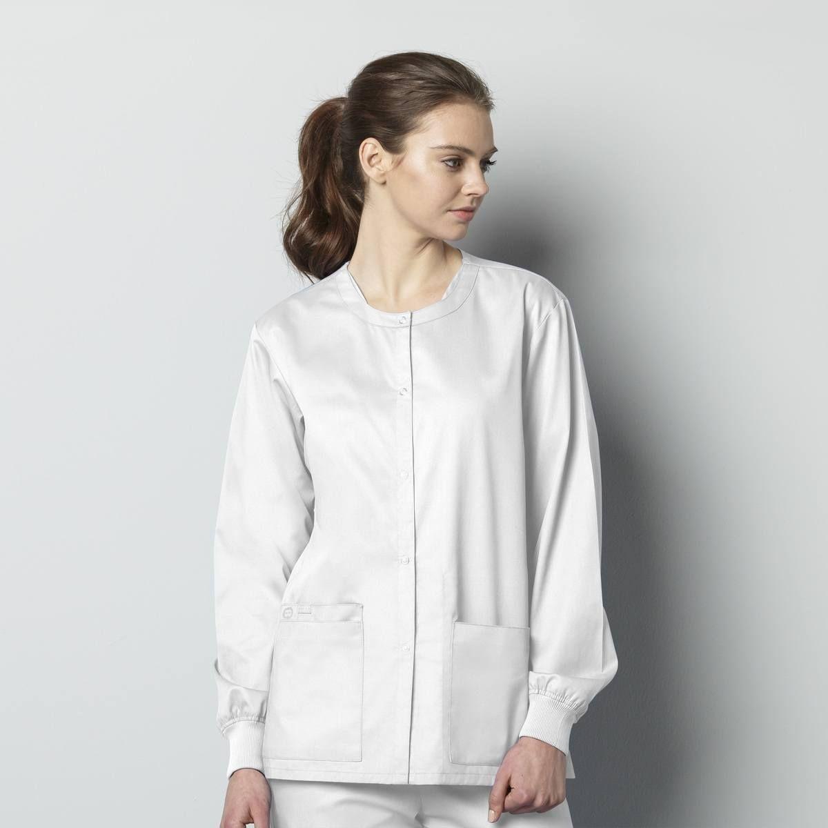 **Optional** Wonderwink Unisex Snap Front Jacket // No Logo-WonderWink