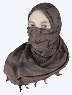 Mocha / Black Crossed Guns 100% Cotton Shemagh Desert Scarf-