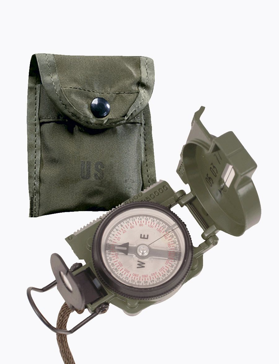 Gi Lensatic Compass With Pouch-Tru-Spec