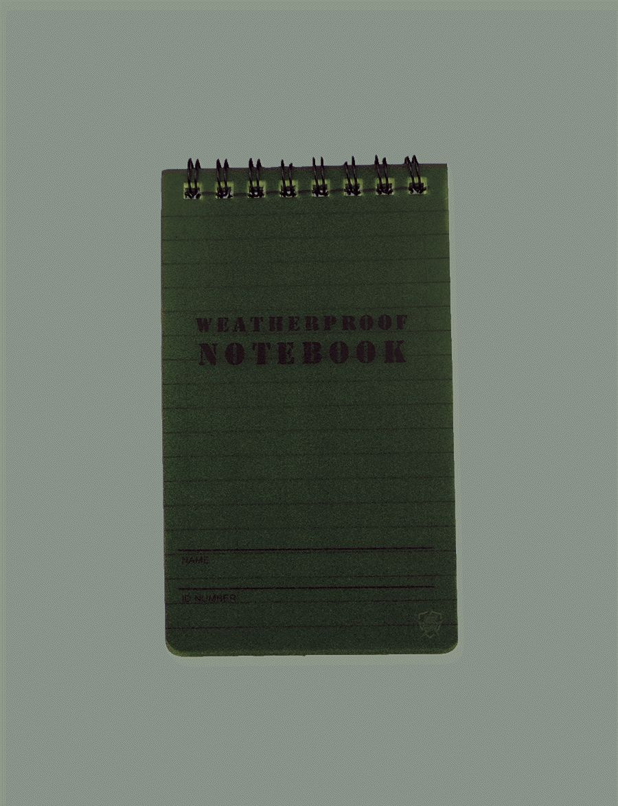"Olive Drab Green 3""X5"" Weatherproof Notebook-"